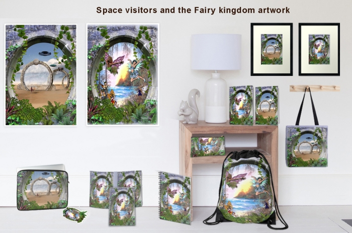 Space visitors and the fairy kingdom artwork from my article: Thinning of the Veils between Worlds on hubpages. http://www.redbubble.com/people/nadinemay/works/16352627-fairy-kingdom?p=framed-print